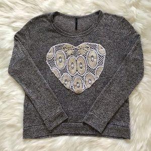 Papaya Gray Sweater with Lace Heart
